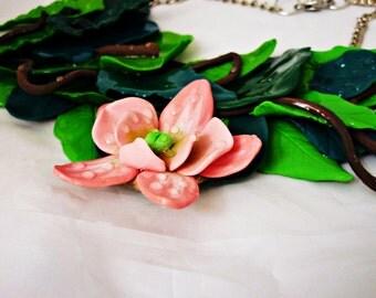 Orchidee pendant. Necklace bib orchidee,  Orchidee,Orchid necklace Polymer clay Pink orchid  necklace. handmade,wedding necklace,bridesmaid