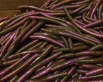 "50 - 5"" Fatties Senko Style Baits Soft Plastic Worms Fatties Watermelon Purple Swirl"