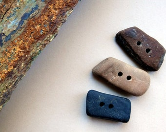 Hand Made Stone Button Set - Set of 3 hand drilled pebbles