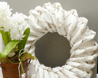 Wreath * bark * 43cm / white-washed