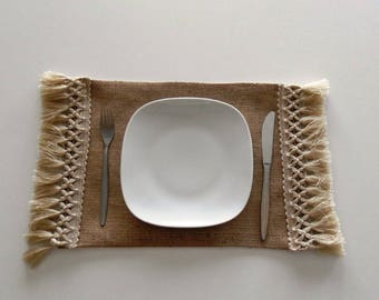 Set of 6 Burlap Placemats with lined - Wedding placemats - Burlap placemats