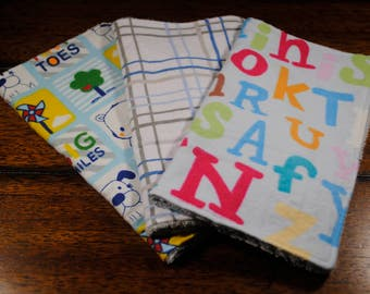 Colorful Letters, Blue Plaid, Tiny Toes Print Washcloths, Three Snuggle Flannel and Chenille Washcloths, Ultra soft, Great baby shower gift