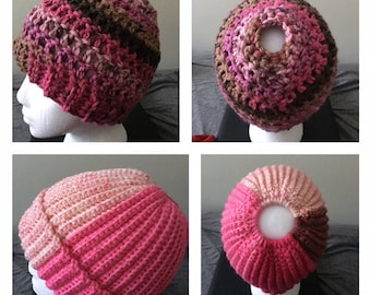 Crocheted Toques, Messy Bun Hats, and Slouchy Beanies