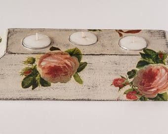 Tea light Holder, Candle Holder, Table Centrepiece, Decoupage, Wood Tea light Holder, Tea lights, Floral, Roses, Reclaimed Wood