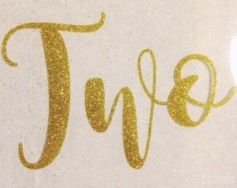 DIY Birthday Iron On Decal/TWO/Second Birthday/Gold Glitter Birthday Iron On