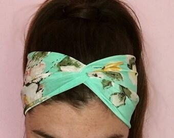 Green Floral Honey Headband Yoga Headband Boho Headband Exercise Headband