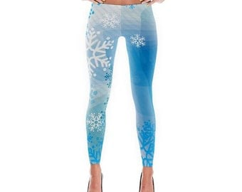 Abstract Blue Snowflakes Printed Leggings/Capris