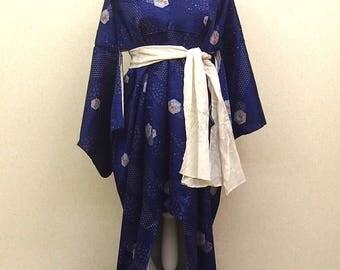 Blue  used kimono robe / Japanese  vintage  kimono robe
