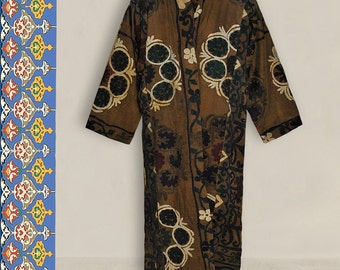 special uzbek silk hand embroidered naturally colored robe chapan B30