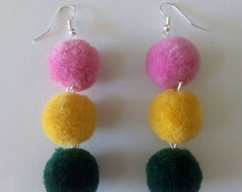 Pink, yellow and dark green Pom-Pom earrings.