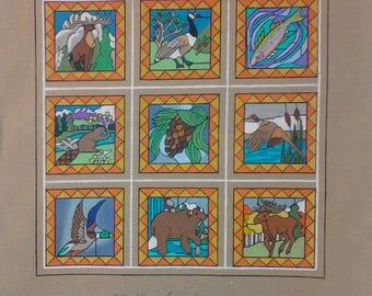 Woodland Group Needlepoint Handpainted canvas