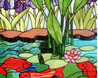 Koi Fish Pond with Iris's