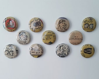 Comic Book Buttons // ADVERTS!