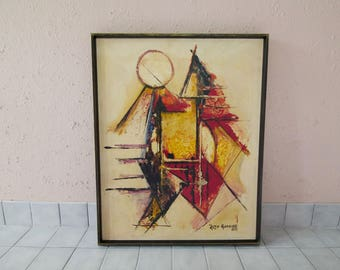 Vintage 1970's Framed Abstract Painting / 70's Home Decor Artwork / Cubism / Rojo Garrido / Retro Wall Art