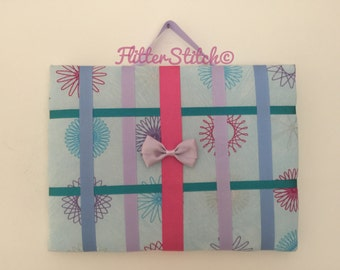 Blue patterned hair bow storage board or holder standard size