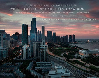Chicago Photography, Chicago Skyline, Love Poem, Art Print