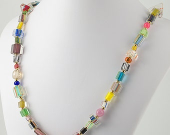 22 inch long necklace, mixed glass beads