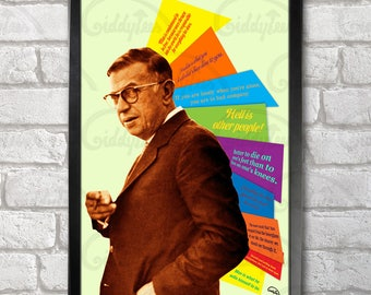 Jean-Paul Sartre Quotes Poster Print A3+ 13 x 19 in - 33 x 48 cm  Buy 2 get 1 FREE