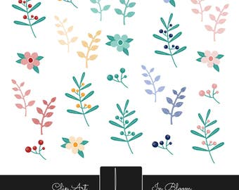 Clip Art - Flowers, Leaves, Branches, Floral, Nature, Berries