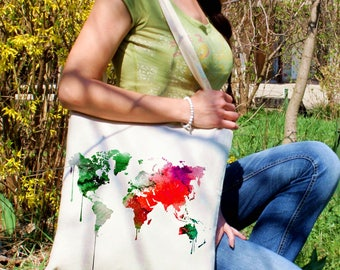 Colorful tote bag -  World map shoulder bag - Fashion canvas bag - Colorful printed market bag - Gift Idea