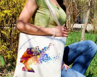 Crazy tote bag - Music shoulder bag - Fashion canvas bag - Colorful printed market bag - Gift Idea