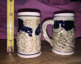 Vintage ceramic miniature beer steins -set of 2