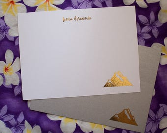 Mountain range personalized gold foil press stationery set of 10 with envelopes