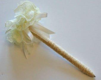 Guest Book Pen, Flower Pen, Wedding Pen, Signing Pen, Rustic Pen, Vintage Pen