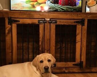 Easter (#1 on Etsy) Double-Den Kennel/ Dog Kennel/Custom Kennel/Handmade Kennel/Dog Bed/Dog Crate Furniture/Pet Furniture/Handcrafted Wood