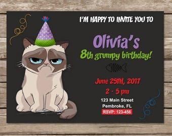 Grumpy Cat Birthday Invitation, Grumpy Cat Party, Grumpy Cat Invites