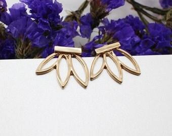 Leaf Stud Earrings Gold Georgiana Esme