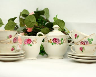 French vintage Luneville tea set - sugar bowl – milk jug – 6 demitasse cups and saucers – French country kitchen – French dining
