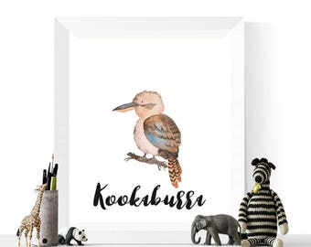 Kookaburra Art | Kookaburra Watercolor Printable | Australian Birds | Kookaburra Print | Watercolour Art | Nursery Decor
