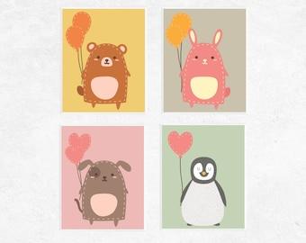 Cute Animals with Balloons Printables | 4 Set | Bear | Bunny | Penguin | Dog | Nursery Prints | Baby Art | Nursery Decor