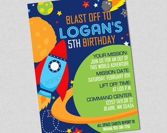 Outer Space Birthday Invitation Available With or Without Photo