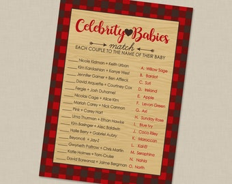Celebrity Baby Match Plaid Mama Bear Shower Game With Answer Key