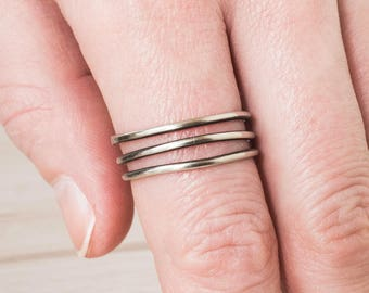 Thumb Ring for Women - Silver - Thumb Ring - Wrap Around