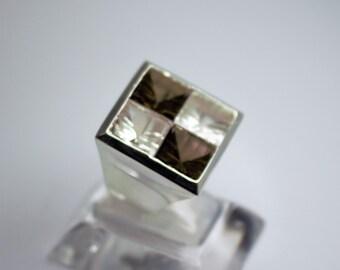 Silver ring seam of smoky quartz and white quartz