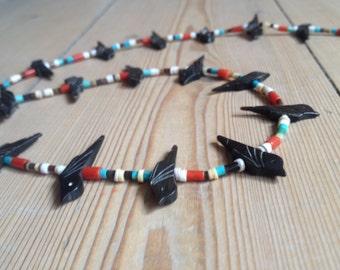 Bird Fetish heishi necklace Southwestern Vintage