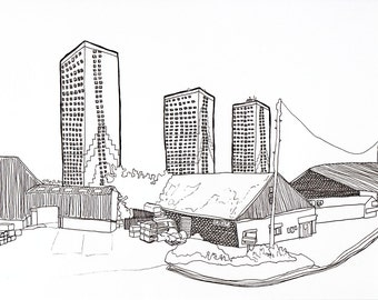 Urban Architecture in Fine Liner - Line Drawing Print