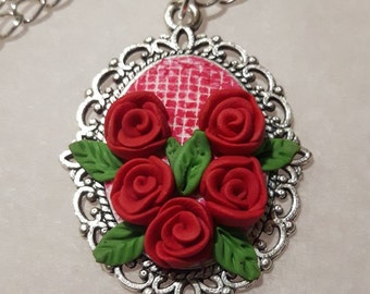 Mini mosaic and red roses polymer clay pendant