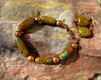 Jasper & Copper Bracelet Earring Set