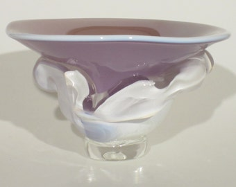 Blown glass overlay bowl. Lilac top with white lip wrap and white overlay base.