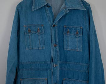 Vintage 1970's Brittania Sportswear Denim Jacket with Pointed Collar / Free Shipping
