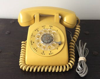 Vintage Rotary Telephone / ITT Northern Electric / Yellow / Banana Yellow / Phone / Retro Office / Mid Century