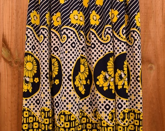 Bold Funky Retro Print Yellow and Navy Blue Skirt