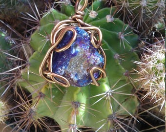 Wire Wrapped Genuine Geode  Stone with Genuine Leather necklace.