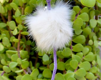 Recycled Fur Ball Interactive Teaser Cat Toy with Purple Tail
