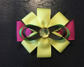 Girls Spring season hair bow. Bright colors hair bow. Hot pink and yellow hair bow.