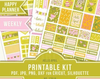 Happy Planner Stickers, Easter Planner Stickers, Easter Planner, Printable Planner, April Weekly Sticker, MAMBI Weekly, 17018